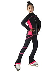 cheap -Figure Skating Jacket with Pants Women's / Girls' Ice Skating Tracksuit / Pants / Trousers / Top Red / Pink / Violet Spandex Inelastic