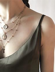 baratos -Mulheres Oversized Colares com Pendentes Colares Declaração  -  Oversized Fashion Formato Circular Dourado Prata Colar Para Diário