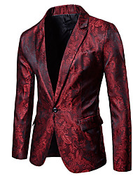 cheap -Men's Sophisticated Slim Blazer - Floral Print, Cut Out