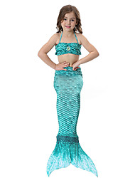 cheap -The Little Mermaid Swimwear Bikini Kid Christmas Masquerade Festival / Holiday Halloween Costumes Purple Yellow Red Green Blue Solid