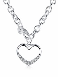 Недорогие -Жен. Гипоаллергенный Сердце Цирконий Циркон Серебрянное покрытие Ожерелья с подвесками Ожерелья-цепочки - Гипоаллергенный Мода Милая