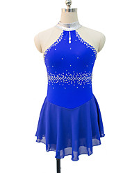 cheap -Figure Skating Dress Women's / Girls' Ice Skating Dress Red / Blue Spandex, Lace Inelastic Performance / Practise Skating Wear Solid