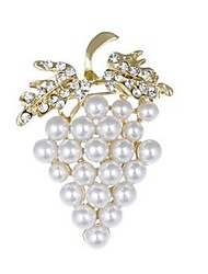 cheap -Women's Brooches - Imitation Pearl, Imitation Diamond Grape Fruit Brooch Gold For Daily
