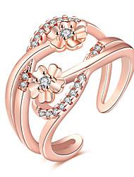 abordables -Femme Zircon Zircon / Cuivre Fleur Cuff Anneau - Forme de Cercle Grande occasion / Mode Argent / Or Rose Bague Pour Soirée / Quotidien