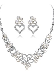cheap -Women's Cubic Zirconia / Rhinestone / Imitation Pearl Imitation Pearl / Zircon / Silver Plated Flower / Heart Jewelry Set 1 Necklace /