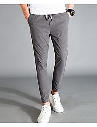 Masculino Simples Cintura Média Micro-Elástica Chinos Calças,Sólido Poliéster Outono