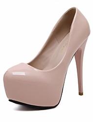 abordables -Femme Chaussures Polyuréthane Printemps Automne Escarpin Basique Chaussures à Talons Talon Aiguille Bout rond pour Habillé Noir Rose