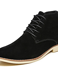 cheap -Men's Shoes Real Leather PU Leather Spring Fall Driving Shoes Comfort Bootie Light Soles Boots Booties/Ankle Boots For Casual Blue Brown