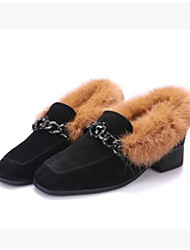 cheap -Women's Shoes Feather/ Fur PU Winter Comfort Boots Chunky Heel Square Toe Closed Toe Booties/Ankle Boots for Casual Brown
