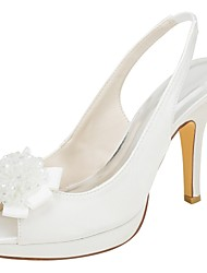 cheap -Women's Shoes Stretch Satin Summer Basic Pump Wedding Shoes Stiletto Heel Peep Toe Pearl Ivory / Party & Evening
