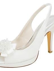abordables -Femme Chaussures Satin Elastique Eté Escarpin Basique Chaussures de mariage Talon Aiguille Bout ouvert Perle Ivoire / Soirée & Evénement