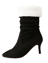 preiswerte -Damen Schuhe Nubukleder Herbst / Winter Modische Stiefel Stiefel Stöckelabsatz Spitze Zehe Mittelhohe Stiefel Seiten-drapiert Schwarz /