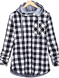 cheap -Women's Holiday Casual/Daily Sexy Street chic Winter Fall Shirt,Plaid Hooded Long Sleeve Polyester