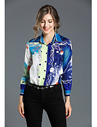 cheap -Women's Daily Casual Shirt,Print Shirt Collar Long Sleeve Silk