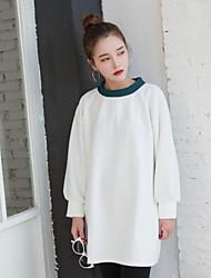 preiswerte -Damen Pullover Extraklein Lässig/Alltäglich Einfach Solide Rundhalsausschnitt Ohne Futter Mikro-elastisch Polyester Langärmelige Herbst