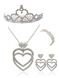 cheap -Women's Jewelry Set - Imitation Diamond Heart European, Fashion Include Headwear Bridal Jewelry Sets Gold / White For Wedding Party