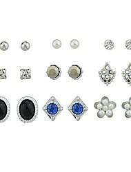 economico -Per donna Orecchini a bottone Perle finte Strass Essenziale Di tendenza Perle finte Tormalina imitazione Lega Fiore decorativo Gioielli