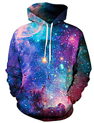 cheap -Men's Plus Size Active Long Sleeves Hoodie - Galaxy Hooded