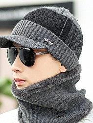 cheap -Men's Sweater Floppy Hat,Work Casual Solid Winter Knitted Gray Black