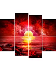 Недорогие -Наборы холстов Классика,4 панели Холст С картинкой Декор стены Украшение дома
