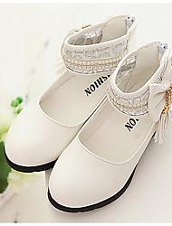 preiswerte -Mädchen Schuhe PU Frühling Herbst Komfort Flache Schuhe Walking Schleife Schnalle für Normal Weiß Schwarz Rosa