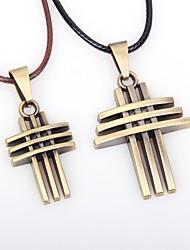 Недорогие -Для пары Ожерелья с подвесками Крест Винтаж Кожа Сплав Бронзовый Ожерелье Бижутерия 2pcs Назначение На выход Бар