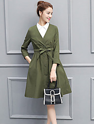 cheap -Women's Daily Casual Fall Set Dress Suits,Solid V-neck Long Sleeve Polyester