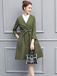 abordables -Femme Set - Couleur Pleine Robes Col en V