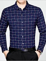 Masculino Camisa Social Casual Activo Primavera Outono,Houndstooth Algodão Colarinho de Camisa Manga Comprida Fina