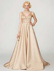 cheap -Princess Plunging Neckline Floor Length Satin Prom / Formal Evening Dress with Beading by TS Couture®
