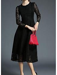 Dámské Vintage Dovolená Pouzdro Krajka Šaty Jednobarevné,Dlouhé rukávy Tričkový Midi Bavlna Zima Podzim Mid Rise Lehce elastické