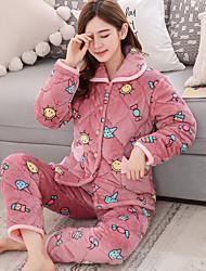 Feminino Conjunto Pijamas,Estampado Estampado Algodão Rosa