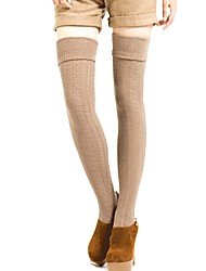 cheap -Women's Medium Stockings, Cotton Solid 1set Black Dark Gray Wine Khaki Light gray
