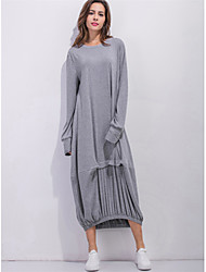 cheap -Women's Going out Boho Street chic Loose Tunic Dress,Solid Striped Round Neck Maxi Long Sleeve Polyester All Season Mid Rise Micro-elastic