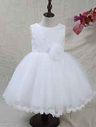 cheap -A-Line Knee Length Flower Girl Dress - Lace Satin Tulle Sleeveless Jewel Neck with Laces Bow(s) Flower(s) by LAN TING BRIDE®