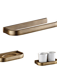 cheap -Bathroom Accessory Set Archaistic Brass 3pcs - Hotel bath Toothbrush Holder soap dish tower bar