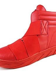 Masculino sapatos Borracha Inverno Coturnos Botas Caminhada Botas Cano Médio Cadarço de Borracha para Branco Vermelho Branco/Preto