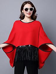 Dámské Jednoduchý Běžné/Denní Standardní Plášť / Capes Jednobarevné,Dlouhé rukávy Kulatý Polyester Zima Podzim Tlusté strenchy