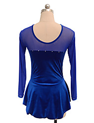 cheap -Figure Skating Dress Women's Girls' Ice Skating Dress Blue Spandex Inelastic Performance Practise Skating Wear Solid Long Sleeves Ice