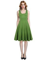 cheap -Women's Daily Beach Casual Swing Dress,Solid U Neck Knee-length Sleeveless Cotton Polyester Elastane Summer High Rise Micro-elastic Thin