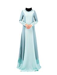 abordables -Robe Arabe Abaya Robe caftan Jalabiya Féminin Fête / Célébration Déguisement d'Halloween Café Rouge Bleu Couleur Pleine