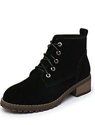 cheap -Women's Shoes PU Winter Comfort Boots Chunky Heel Round Toe Closed Toe Booties/Ankle Boots for Casual Black Gray Khaki