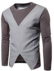 cheap -Men's Cotton T-shirt - Striped Color Block, Cut Out Round Neck