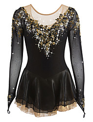 abordables -Robe de Patinage Artistique Femme Fille Patinage Robes Noir Spandex Strass Appliques Haute élasticité Utilisation Tenue de Patinage Fait