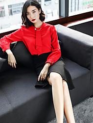 preiswerte -Damen Arbeit Bluse - Solide, Rüsche Gestrickt Ständer Rock