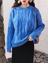 baratos -Feminino Padrão Pulôver,Casual Simples Moda de Rua Sólido Decote Redondo Manga Longa Cashmere Poliéster Inverno Outono Grossa strenchy
