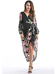 cheap -Women's Holiday Street chic Sheath Dress,Floral V Neck Maxi Long Sleeve Polyester Winter Fall High Waist Micro-elastic Thick