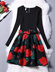 Pigens Kjole Daglig I-byen-tøj Ensfarvet Blomstret Trykt mønster,Bomuld Polyester Vinter Efterår Langærmet Vintage Sødt Prinsesse Rød