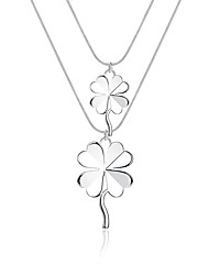 cheap -Women's Hypoallergenic Silver Plated Pendant Necklace Chain Necklace  -  Hypoallergenic Fashion Sweet Four Leaf Clover Silver Necklace For