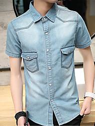 Недорогие -Для мужчин На каждый день Лето Рубашка Простое Однотонный С короткими рукавами,Хлопок